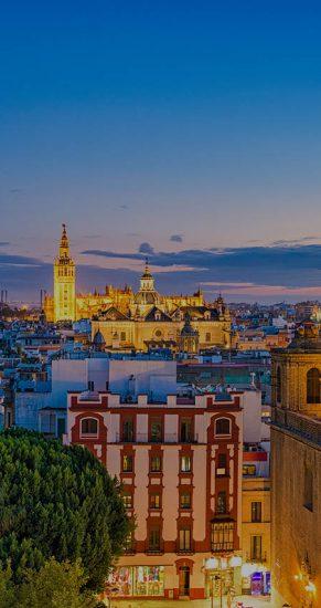 Seville, Spain skyline in the Old Quarter.